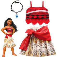 2020 Girls Moana Cosplay Costume for Kids Vaiana Princess Dress Clothes with Necklace for Halloween Costumes Gifts for Girl