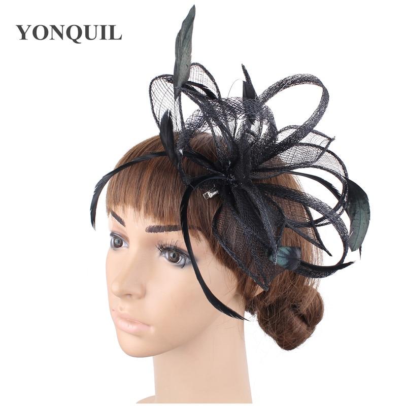 Желтая Свадебная расческа для волос sinamay, аксессуары для волос, Популярные головные уборы для женщин, вечерние головные уборы - Цвет: Черный