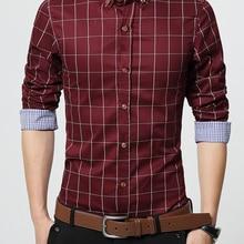 Casual Shirt Dress Slim-Fit Business Long-Sleeve Plaid Male Men's Plus-Size 5XL High-Quality