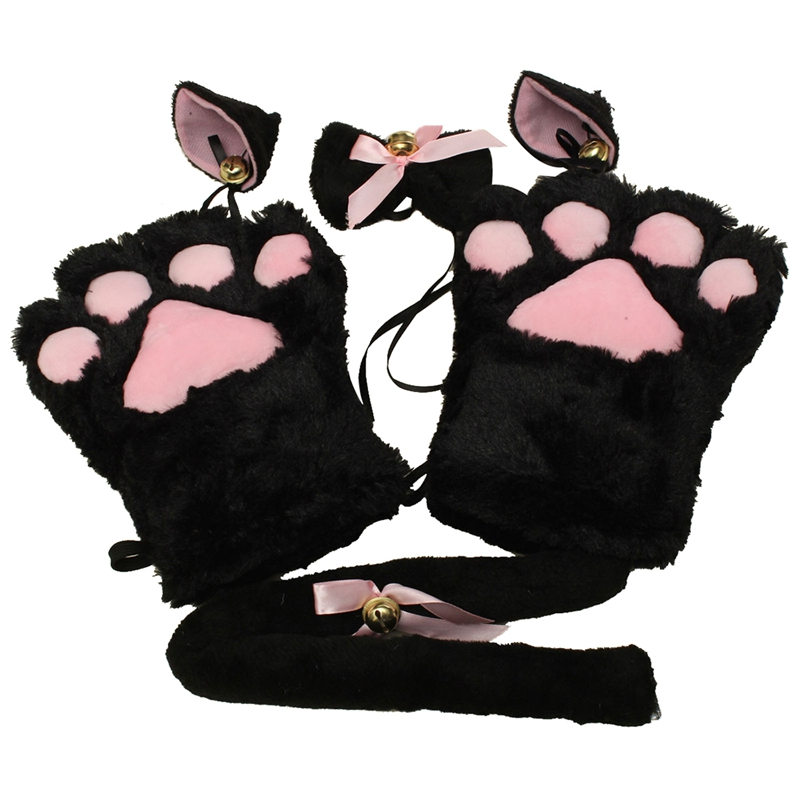 Kitten Cat Maid Cosplay Roleplay Anime Costume Gloves Paw Ear Tail Tie Party Color:Black Whole Set