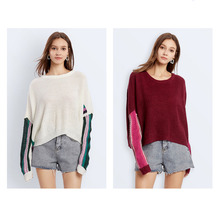 2019 New European and American Womens Clothes Loose Pullover Sweater Contrast Bat Sleeve  Clothing