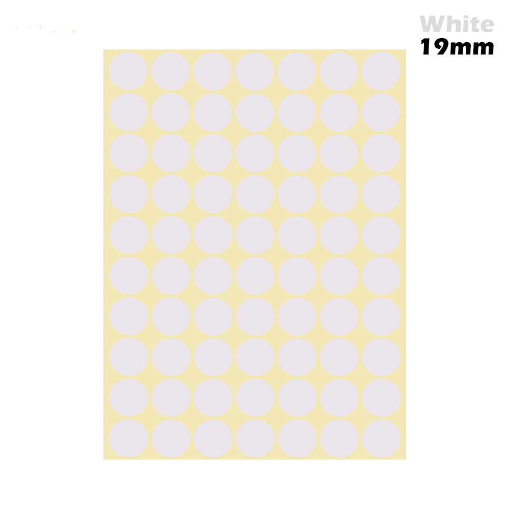 1 лист 10 мм/19 мм цветные наклейки в горошек круглые круги точки бумажные клеящиеся этикетки офисные школьные принадлежности - Цвет: white 19mm
