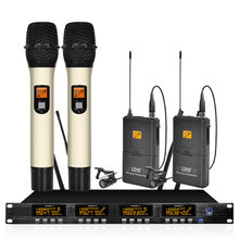 Wireless microphone system frequency adjustable professional UHF automatic 2 handheld 2 lavalier microphone wireless(China)