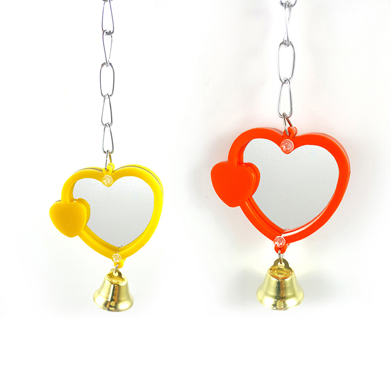 Pássaro papagaio espelho mordida sino brinquedos coração forma redonda espelho pendurado escalada brinquedos suprimentos para animais de estimação seguro durável espelho cor aleatória