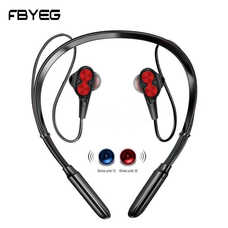 FBYEG Wireless Bluetooth Earphone Neck Hangin Headphones Double Driver Earbud Bass Sport Waterproof Stereo Four Speakers Headset