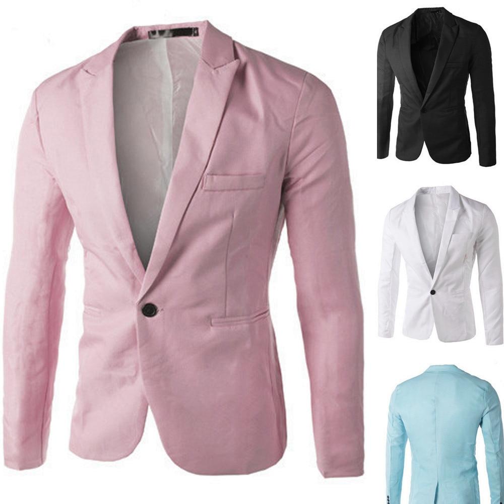 MUQGEW Charm Men's White Black Pink Blue Casual Slim Fit One Button Spring Autumn Suit Blazer Coat Jacket Tops Men Fashion