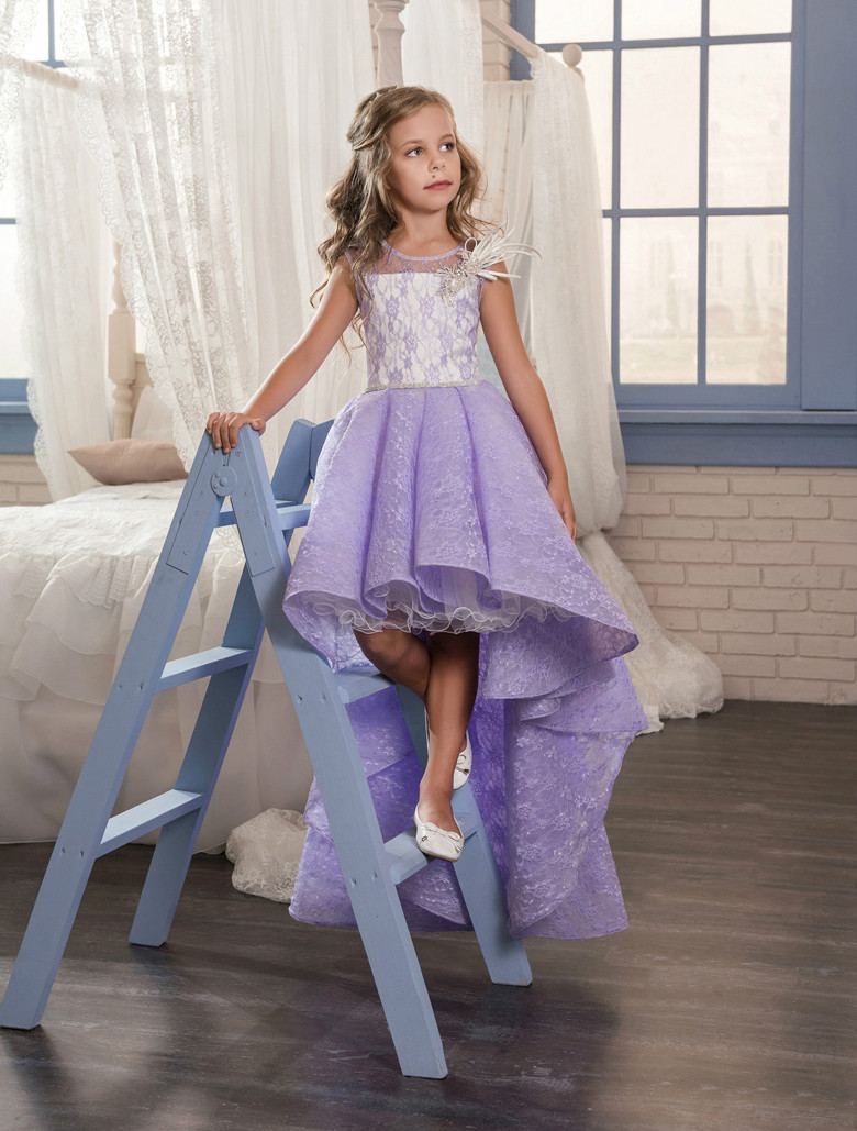 High Low 2019   Flower     Girl     Dresses   For Weddings Ball Gown Lace Beaded Lavender Long First Communion   Dresses   Little   Girl