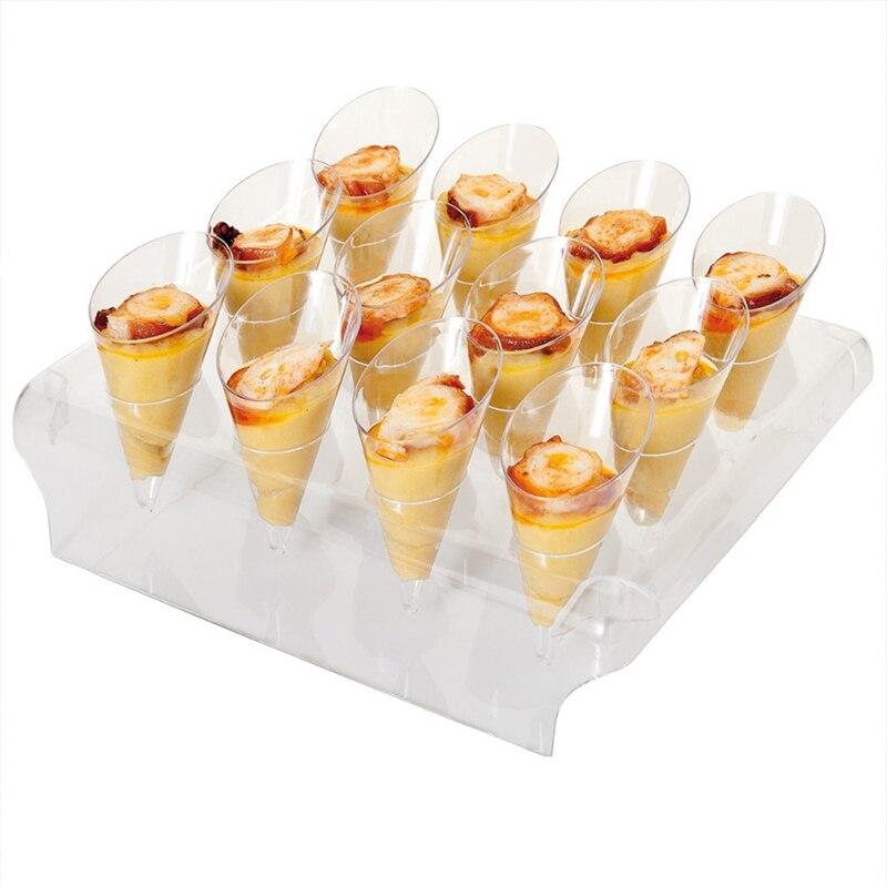 Бесплатная Доставка, свадебные принадлежности вечерние, перерабатываемый/многоразовый Десерт/буфет мороженого, 1 дисплей + 12 мини-конусов (...
