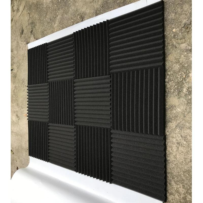 6/12pcs Sound Absorption Elasticity Sponge  Noise Reduction Wall Acoustic Foam Cotton Board For Indoor Office Studio Room