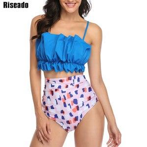 Image 3 - Riseado גבוהה מותן נשים ביקיני 2020 סקסי Bandeau בגדי ים נקבה Ruched בגדי ים ביקיני רחצה חליפות רצועת חוף ללבוש