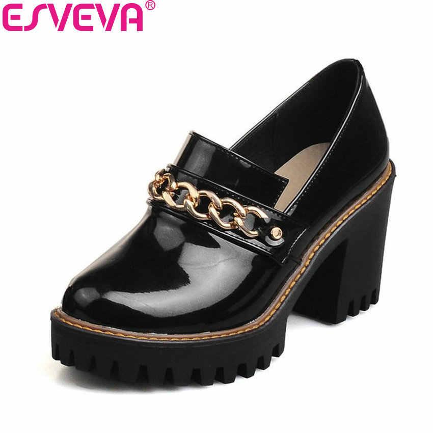 ESVEVA 2020 miękkie PU wiosna jesień obuwie łańcuchy szpilki buty brytyjskie grube obcasy buty na koturnach czarny rozmiar 34-43