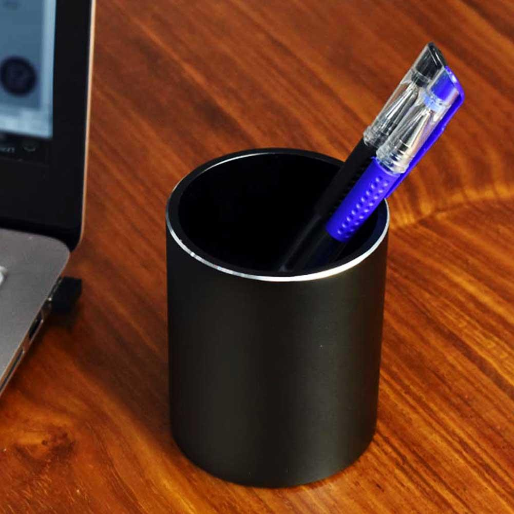 Metal Pencil And Pen Holder Round Aluminum Desktop Organizer And Cup Storage Box For Office,School,Home And Kids