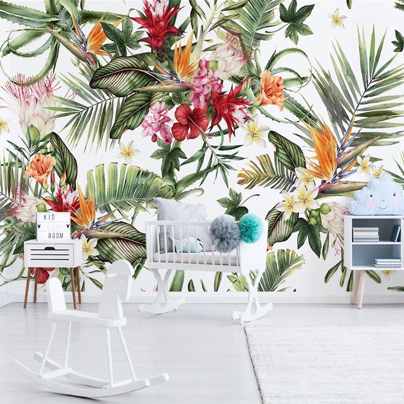 Custom 3D Photo Wallpaper Modern Large Mural Tropical Rainforest Plants Flowers Birds Wall Painting Living Room Bedroom Decor