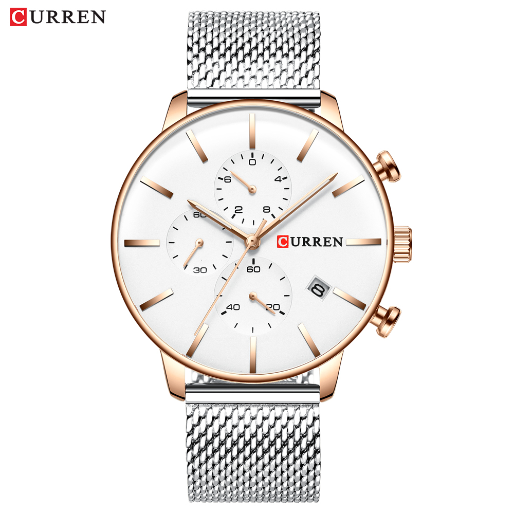 CURREN Luxury Fashion Mesh Strap Stainless Steel Quartz Watches Men Casual Male Clock Chronograph And Auto Date Wristwatch Reloj