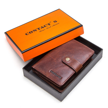 Contact's Genuine Leather Wallets Women Men Wallet Short Small Rfid Card Holder Wallets Ladies Red Coin Purse Portfel Damski 15