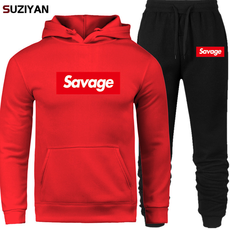 Pullover Men Set Clothing+Pants Fleece Hoodies Sportwear  Print Savage Sets New 2019 Men Tracksuits Outwear Male Sweatshirts