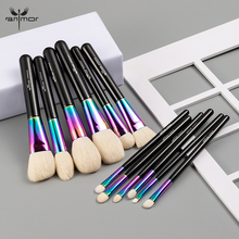 Anmor High Quality Rainbow Makeup Brushes Set Luxurious Goat Hair 12 Pcs Make Up Brush Professional Cosmetic Tools Maquillaje