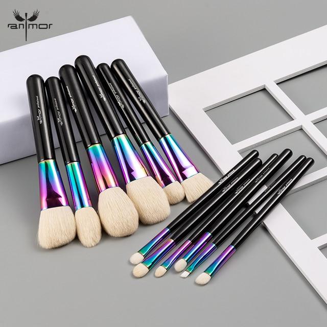 Anmor Hoge Kwaliteit Regenboog Make Up Kwasten Set Luxe Geitenhaar 12 Stuks Make Up Borstel Professionele Cosmetische Gereedschap Maquillaje