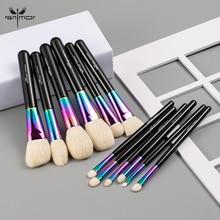 Anmor Hohe Qualität Regenbogen Make Up Pinsel Set Luxuriöse Ziegenhaar 12 Pcs Make Up Pinsel Professionelle Kosmetische Werkzeuge Maquillaje