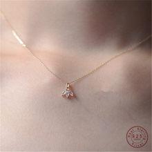 925 Sterling Silber 14K Vergoldet Intarsien Kristall Französisch Clover Anhänger Schlüsselbein Kette Halskette Frauen Schmuck Zubehör