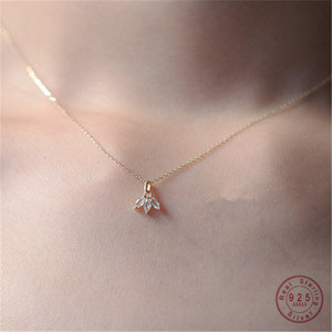 925 Sterling Silver 14K Plated Gold Inlaid Crystal French Clover Pendant Clavicle Chain Necklace Women Jewelry Accessories
