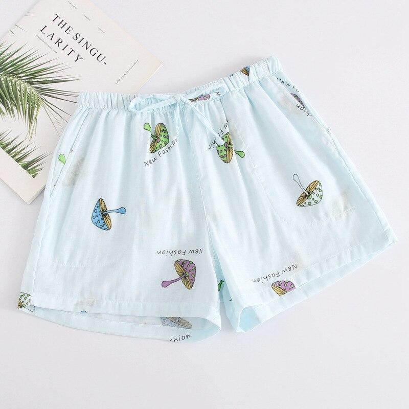 Летние женские Пижамные шорты, хлопковые газовые пижамы, штаны с принтом, штаны для сна, одежда для сна, женская одежда для сна - Цвет: Blue mushroom