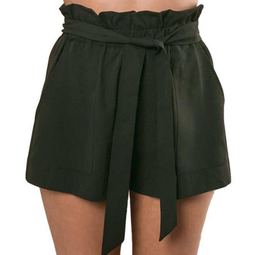 Hirigin  Ladies Fashion Women Clothes High Waist Solid Casual Ruffled Bowknot Pocket Summer Loose Hot Shorts Regular Mini Shorts