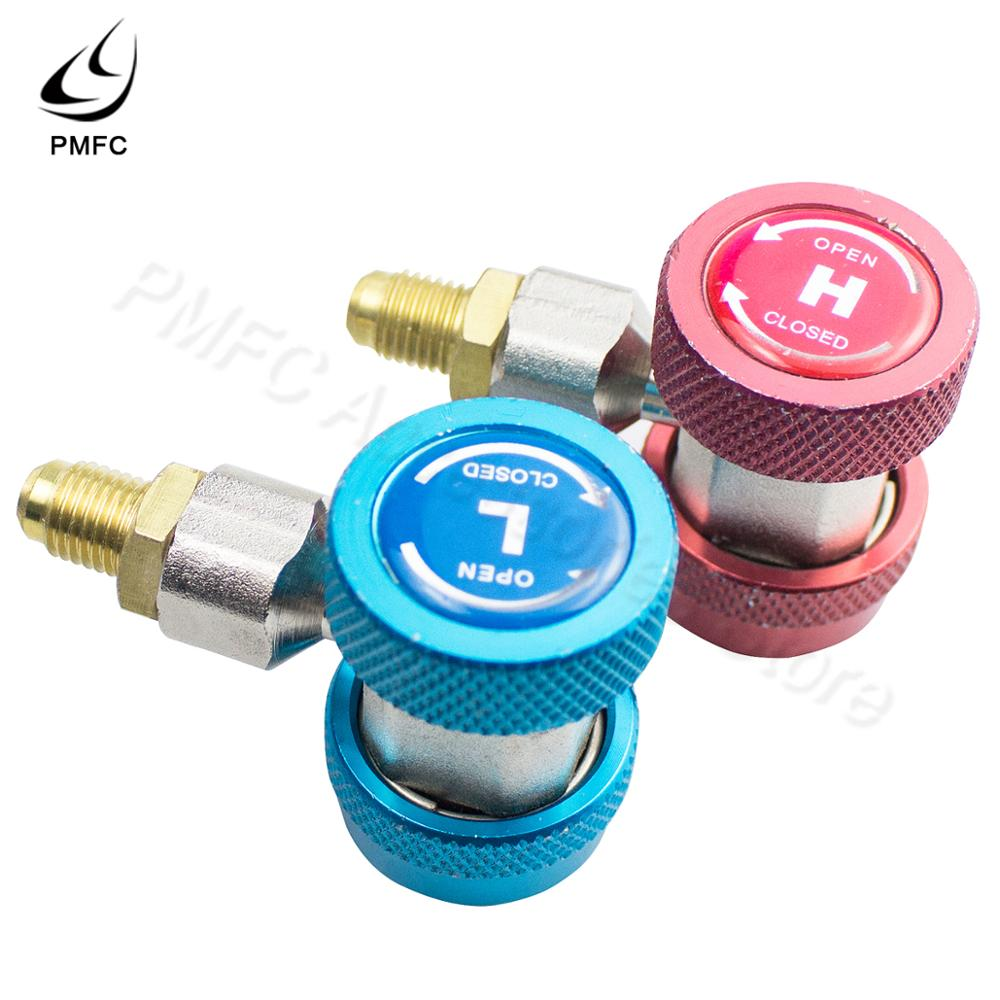 Blue R134 A//C Low//High Quick Connector Set Air Conditioning Joint Connector Adapter Extractor Valve Core Manifold Gauge Low High Side Adapter