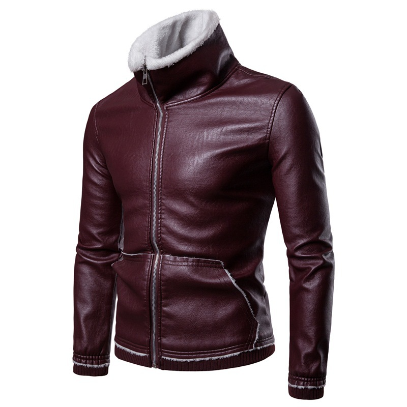 MEN'S WEAR New Style Leather Coat Men's Winter Fold-down Collar Casual Lambs Wool Leather Coat Men's Thick Leather Jacket Coat