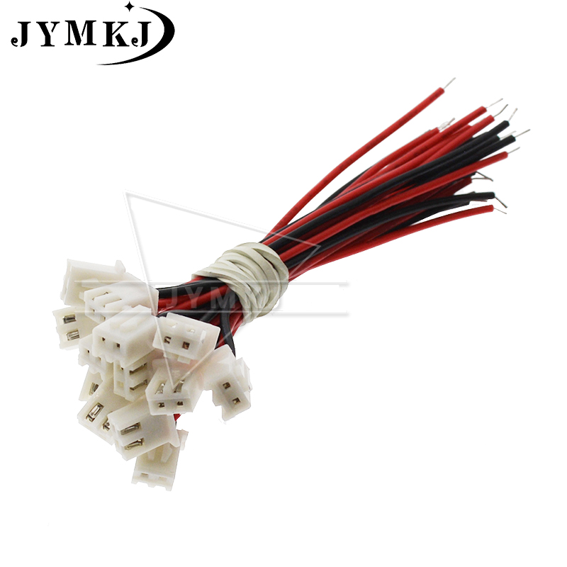 10pcs/lot JST XH 2.54 2P 2 Pin Pitch 2.54mm Connector Plug Wire Cable 80mm 100mm 20mm Length 26AWG