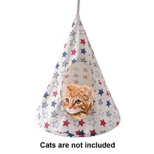 Pet Cat Dog Conical Sleeping Bed Basket Cotton and Linen Foldable Ventilate Cat Hammock Hanging Bed Space Saving Cage Tent(China)