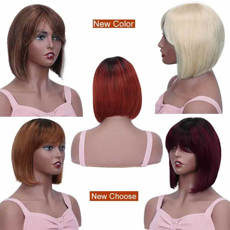 Rebecca mix cor de corte curto em linha reta peruca cabelo humano remy peruano perucas para preto feminino marrom ombre vermelho azul peruca livre navio