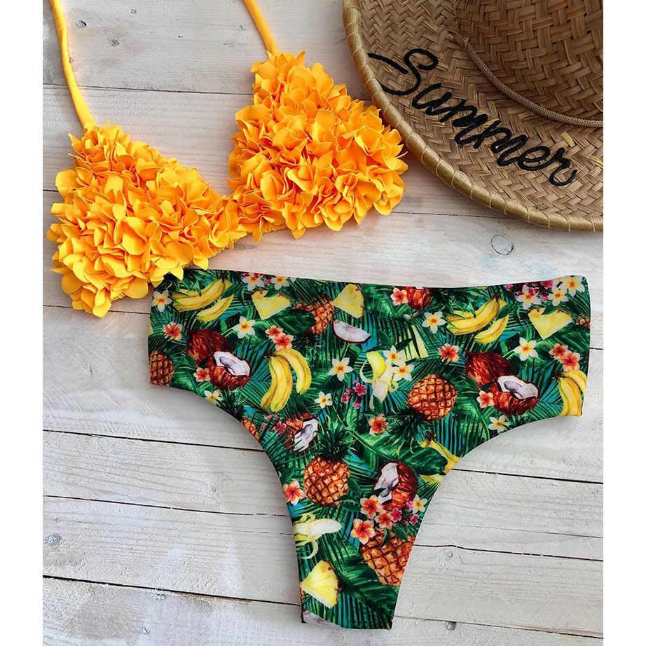 Бразильское бикини Mujer, комплект бикини, 2019, сексуальная одежда для плавания, женский купальник, купальный костюм с бретельками, пляжная одежда, купальник с принтом
