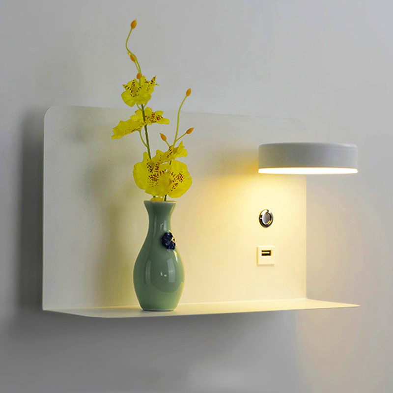 Pragmatism Led Wall Lamp Bedside Table Modern Bedroom Reading Lamp Hotel Wall Lamp 3 Colors Can Be Switched USB CY51506