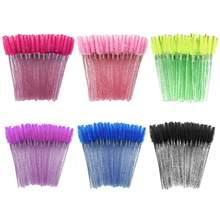 150 pçs descartável glitter cílios extensão rímel varinha escovas olho sobrancelha cristal lash escovas
