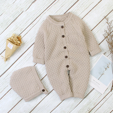 2021 Autumn New Children Boys Clothes Baby Jumpsuit Front Buckle Knitted Jumpsuit Warm Hat Newborn Cotton Romper Girls Clothing