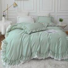 Luxury Bedding Set Queen King Size Green Ruffle Lace Duvet Cover Bed Skirt Pillowcase Princess Bedspread Bedlinen Egypt Cotton