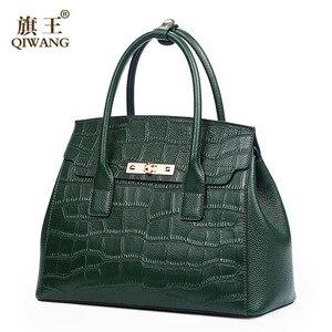 Image 2 - Qiwang שחור תיקי נשים 2019 דפוס תנין גבירותיי יד שקיות אמיתי עור כתף שקיות אופנה יוקרה Tote תיק