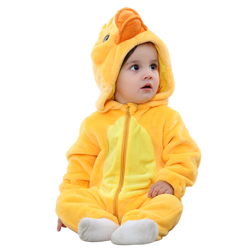 Purim Halloween Costumes Baby Boys Girls Cartoon Yellow Duck Costume Onesie Kigurumi Infant Toddler Romper Jumpsuit Flannel