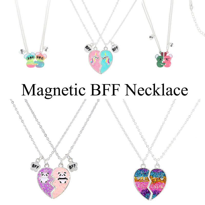 A Girl' Magnetic BFF Necklace 2Pcs/Set Heart-shaped Best Friends Necklaces Couples Chain Friendship Gifts for Girl Women