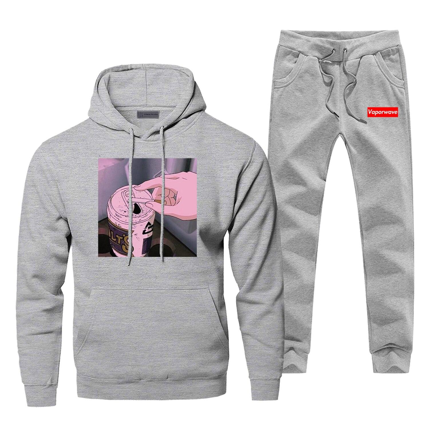 Hoodies Vaporwave Pants Set Men Hoodie Japanese Anime Sweatshirt Mens Hoodies Pollover 2 Piece Set Streetwear Male Sweatshirts