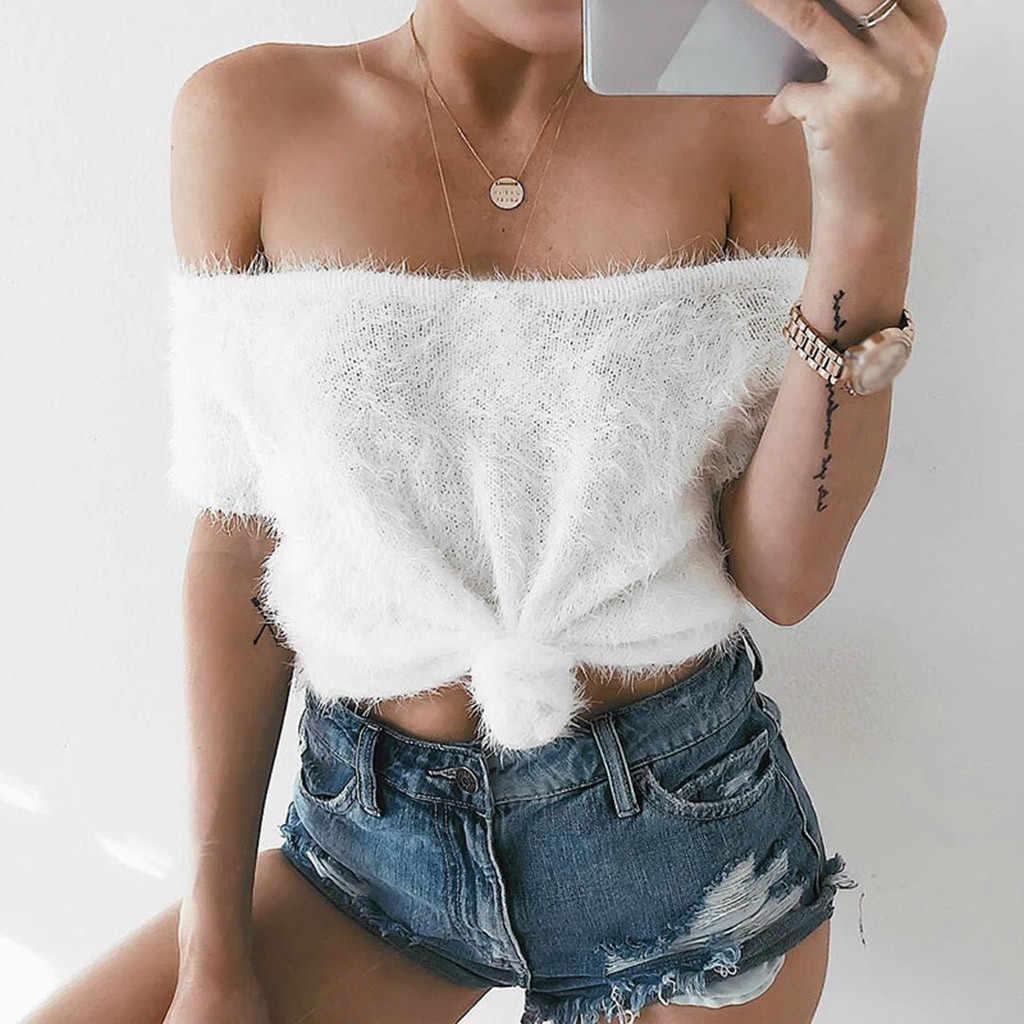 Luxus T Shirt Damen Mode Strick T-Shirts Für Frauen Nerz Pelz Sexy Lange Kragen Kurze T-Shirt Vor verknoten Liebsten Weiß