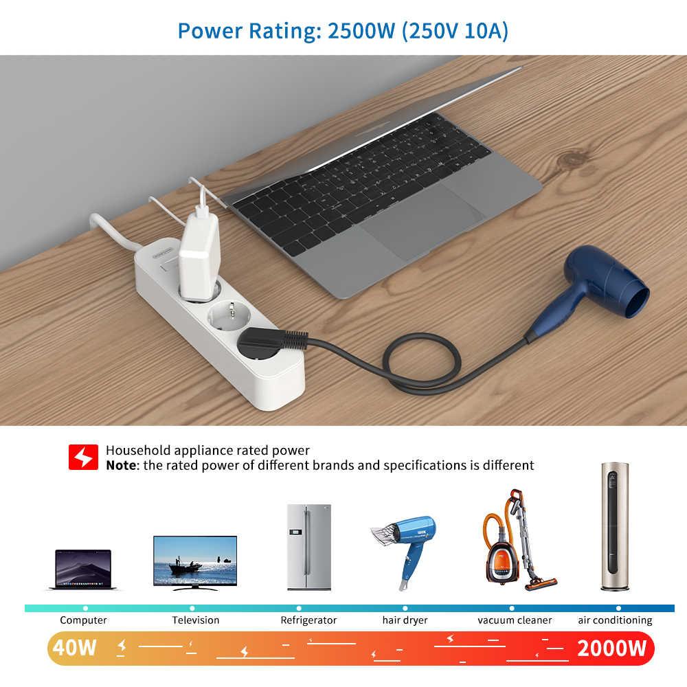 Ntonpower Wandmontage Power Strip Eu Plug Surge Protector Met 3M Cord Extension Socket Voor Home Office Netwerk Filter