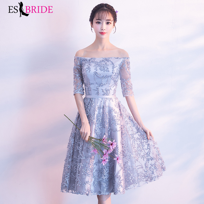 Special Occasion Grey Lace Appliques Cocktail Dresses Short A-line Elegant Formal Prom Dress ES1872 Vestidos Formales Cortos