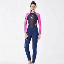 One Piece Long Neoprene Wetsuit Women Long Sleeve Diving Suit Keep Warm Jump Suits For Women Sailing Clothes Wetsuit 3mm Suit