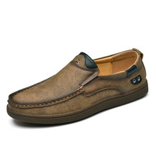 Fashion Brand Men Shoes Genuine Leather Casual Male Slip On Loafers