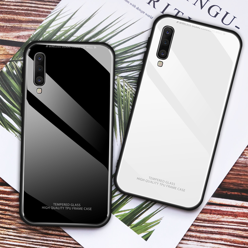 Tempered <font><b>Glass</b></font> Phone <font><b>Case</b></font> For <font><b>Samsung</b></font> Galaxy <font><b>A10</b></font> A30 A50 A40 A60 A70 M40 <font><b>Glass</b></font> Back Cover For Galaxy A7 A8 2018 Shell Fundas image