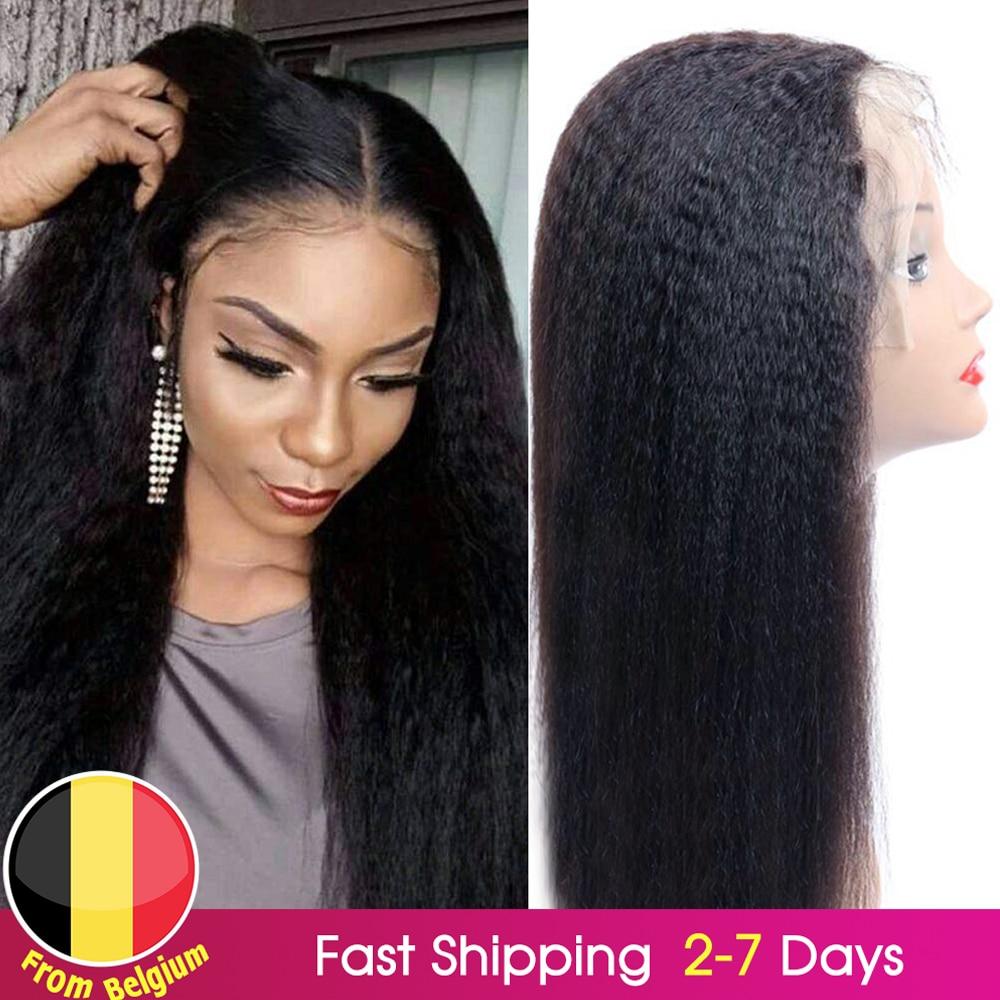 Kinky Straight Wig Closure Lace-Wig Human-Hair-Wigs Wig-Preplucked Yaki Coarse Black-Women