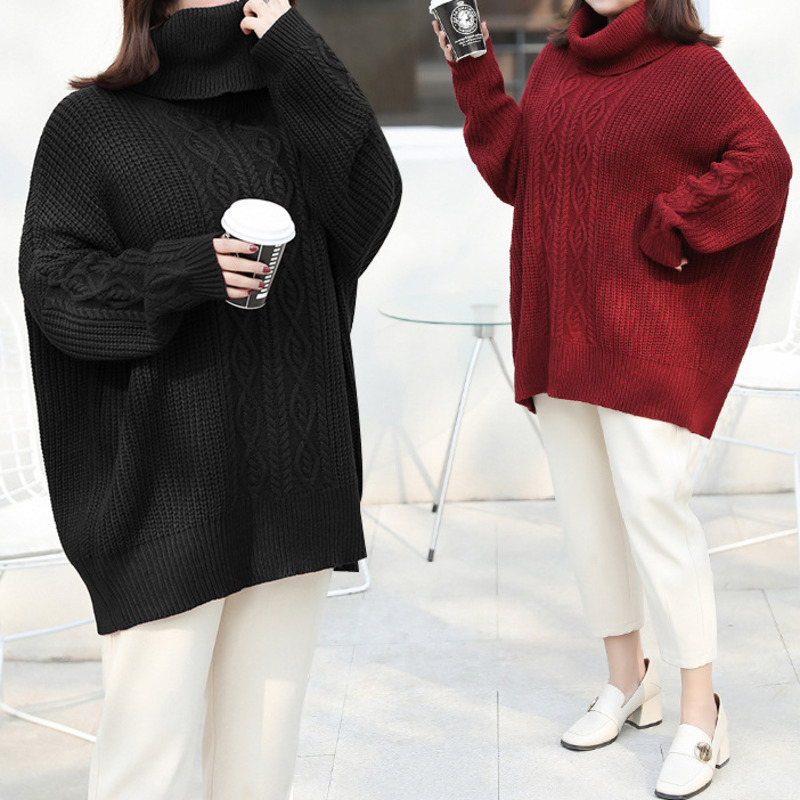 US $21.99 45% OFF|Plus Size Loose Turtleneck Oversized Sweater Short Knitted Top Black And White Pullover Women Pull Femme Hiver Manteau