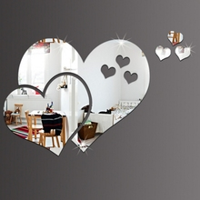 DIY Heart Shape Mirror Tile Obtuse Angle Wall Stickers 3D Decal Mosaic Wallpapers